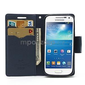 PU kožené peňaženkové puzdro pre Samsung Galaxy S4 mini - fialové - 2