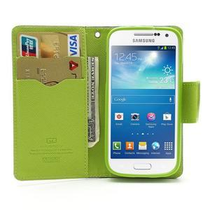 PU kožené peňaženkové puzdro pre Samsung Galaxy S4 mini - tmavo modré - 2
