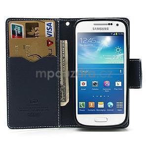 PU kožené peňaženkové puzdro pre Samsung Galaxy S4 mini - cyan - 2