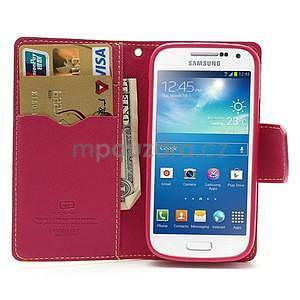 PU kožené peněženkové pouzdro na Samsung Galaxy S4 mini - žluté - 2