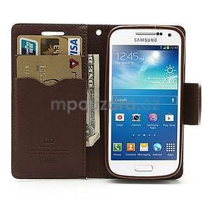 PU kožené peňaženkové puzdro pre Samsung Galaxy S4 mini - hnedé/čierne - 2