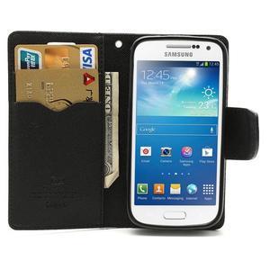 PU kožené peňaženkové puzdro pre Samsung Galaxy S4 mini - čierne - 2