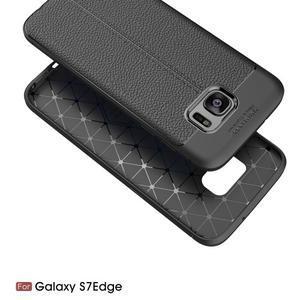 Litch odolný gélový obal s textúrou na Samsung Galaxy S7 Edge - červený - 2