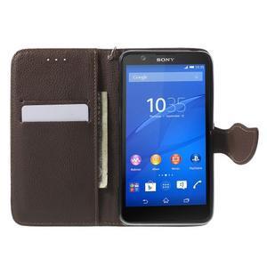 PU kožené lístkové puzdro pre Sony Xperia E4 - rose - 2