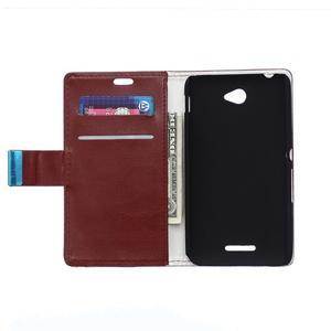 Peněženkové PU kožené pouzdro Sony Xperia E4 - tmavě hnědé - 2