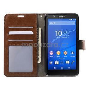 PU kožené peňaženkové puzdro pre mobil Sony Xperia E4 - hnedé - 2