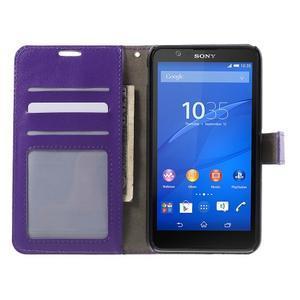 PU kožené peňaženkové puzdro pre mobil Sony Xperia E4 - fialové - 2