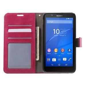 PU kožené pěněženkové pouzdro na mobil Sony Xperia E4 - rose - 2