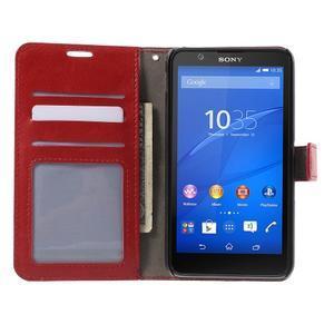 PU kožené peňaženkové puzdro pre mobil Sony Xperia E4 - červené - 2