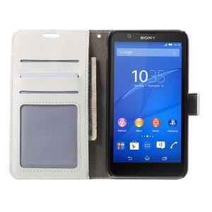 PU kožené peňaženkové puzdro pre mobil Sony Xperia E4 - biele - 2