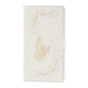 Peňaženkové puzdro s motýľkem na Sony Xperia E4 - biele - 2