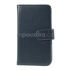 Peněženkové PU kožené pouzdro na Sony Experia E4 - tmavě modré - 2