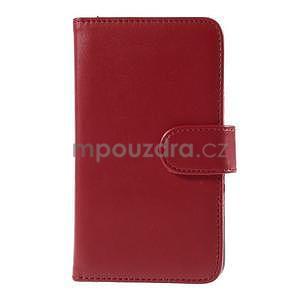 Peňaženkové PU kožené puzdro pre Sony Experia E4 - červené - 2