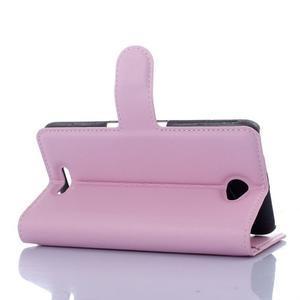 PU kožené Peňaženkové puzdro pre mobil Sony Xperia E4 - ružové - 2