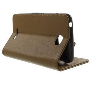 PU kožené Peňaženkové puzdro pre Sony Xperia E4 - hnedé - 2