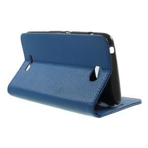 PU kožené peněženkové pouzdro na Sony Xperia E4 - modré - 2