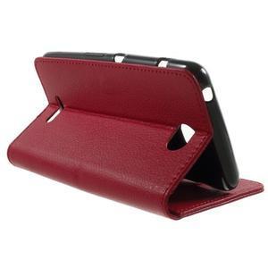 PU kožené Peňaženkové puzdro pre Sony Xperia E4 - červené - 2