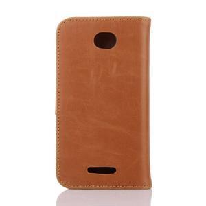 PU kožené PU Peňaženkové puzdro pre Sony Xperia E4 - hnedé - 2