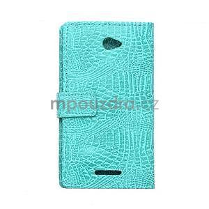 Puzdro s krokodílím vzoromna Sony Xperia E4 - tyrkysové - 2