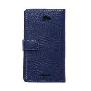 Puzdro s krokodýlím vzorem na Sony Xperia E4 - tmavě modré - 2