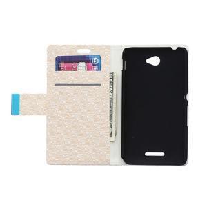 Vzorované peňaženkové puzdro pre Sony Xperia E4 - béžové - 2