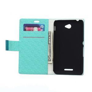 Vzorované peňaženkové puzdro pre Sony Xperia E4 - tyrkysové - 2