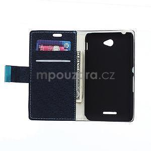Vzorované peňaženkové puzdro pre Sony Xperia E4 - tmavomodré - 2