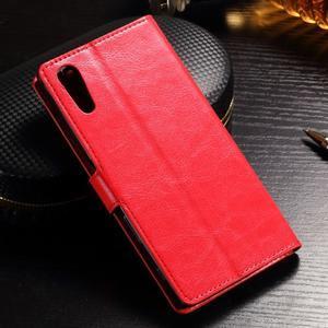 Francis PU kožené Peňaženkové puzdro pre Sony Xperia XZ - červené - 2