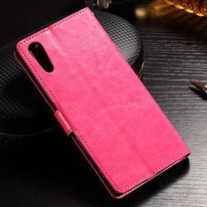 Francis PU kožené Peňaženkové puzdro pre Sony Xperia XZ - rose - 2