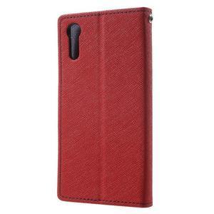 Diary PU kožené puzdro pre mobil Sony Xperia XZ - červené - 2