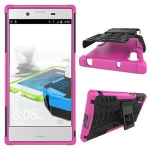 Outdoor odolný obal so stojanom na Sony Xperia XZ - rose - 2