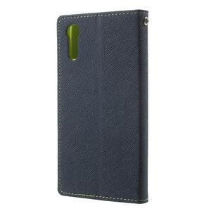 Diary PU kožené puzdro pre mobil Sony Xperia XZ - tmavomodré/zelené - 2