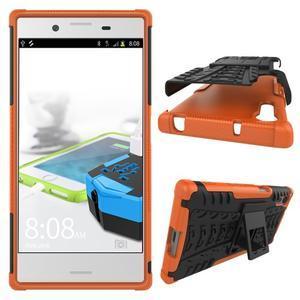 Outdoor odolný obal so stojanom na Sony Xperia XZ - oranžový - 2