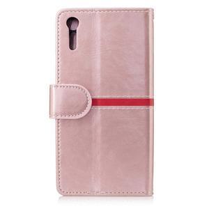 Standy PU kožené peňaženkové puzdro pre Sony Xperia XZ - ružovozlaté - 2
