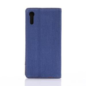 Jeans PU kožené puzdro pre mobil Sony Xperia XZ - modré - 2