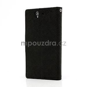 Peňaženkové PU kožené puzdro pre Sony Xperia Z - čierne - 2