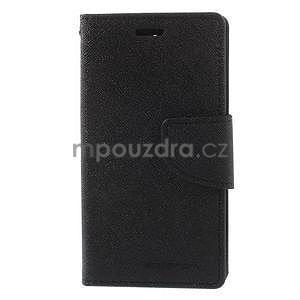 PU kožené peněženkové pouzdro na Sony Z3 Compact - černé - 2