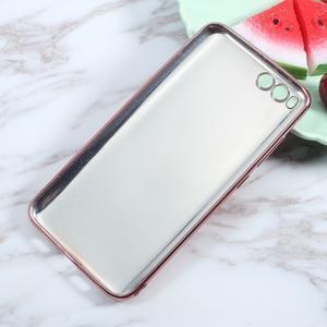 Luxusní gélový obal s PU koženými zády pre Xiaomi Mi 6 - ružový - 2