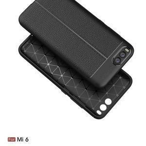 Litchi odolný obal s texturovaným zadným dielom na mobil Xiaomi Mi6 - čierny - 2