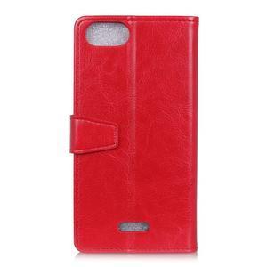 Horse PU kožené peňaženkové puzdro na mobil Xiaomi Redmi 6A - červené - 2