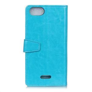Horse PU kožené peňaženkové puzdro na mobil Xiaomi Redmi 6A - modré - 2