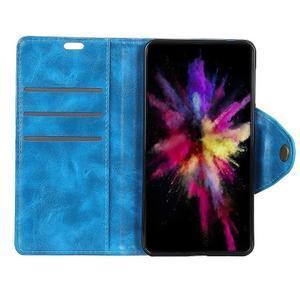 Shell PU kožené flipové puzdro na Xiaomi Redmi 6A - modré - 2