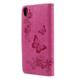 Butterfly PU kožené puzdro na Sony Xperia E5 - rose - 2