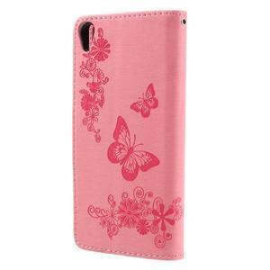 Butterfly PU kožené puzdro pre Sony Xperia E5 - ružové - 2