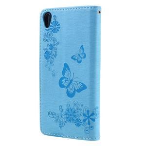 Butterfly PU kožené puzdro na Sony Xperia E5 - světledmodré - 2
