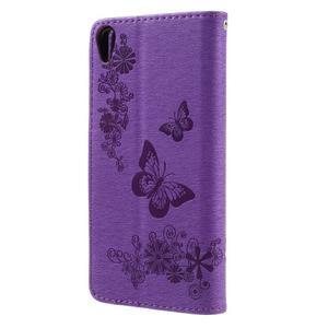 Butterfly PU kožené puzdro na Sony Xperia E5 - fialové - 2