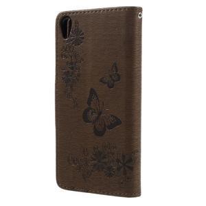 Butterfly PU kožené puzdro na Sony Xperia E5 - hnědé - 2