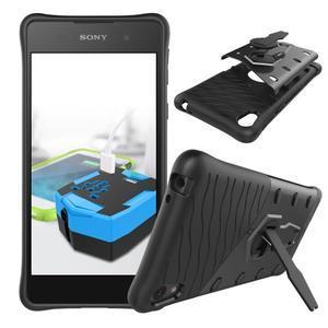 Armory odolný obal so stojanom na Sony Xperia E5 - čierny - 2