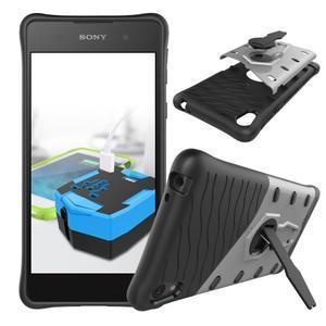 Armory odolný obal se stojánkem na Sony Xperia E5 - stříbrný - 2