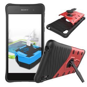 Armory odolný obal so stojanom na Sony Xperia E5 - červený - 2